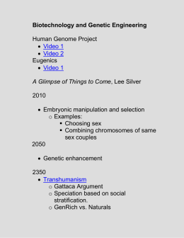 Biotechnology and Genetic Engineering Human Genome Project