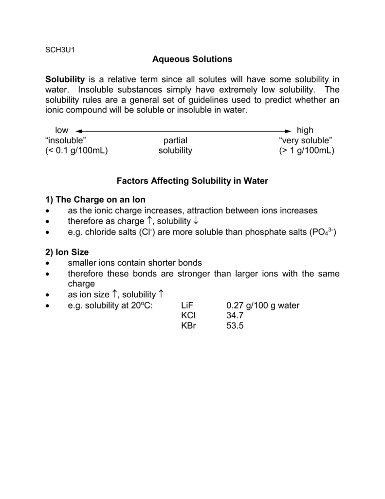 worksheet Factors Affecting Solubility Worksheet sch 3u solubility rules and dissociation net ionic equa