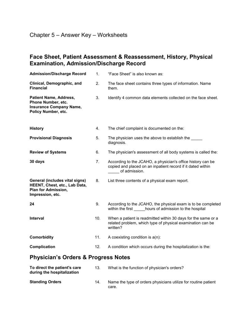 Answer Key - Worksheets - Content of the Patient Records