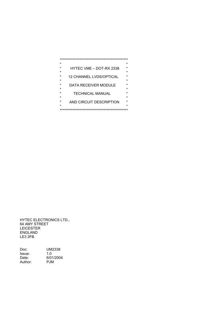 HYTEC VME – DOT-RX 2338 * * * * 12 CHANNEL LVDS/OPTICAL