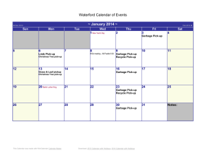 2014 Calendar with US Holidays - Waterford HOA