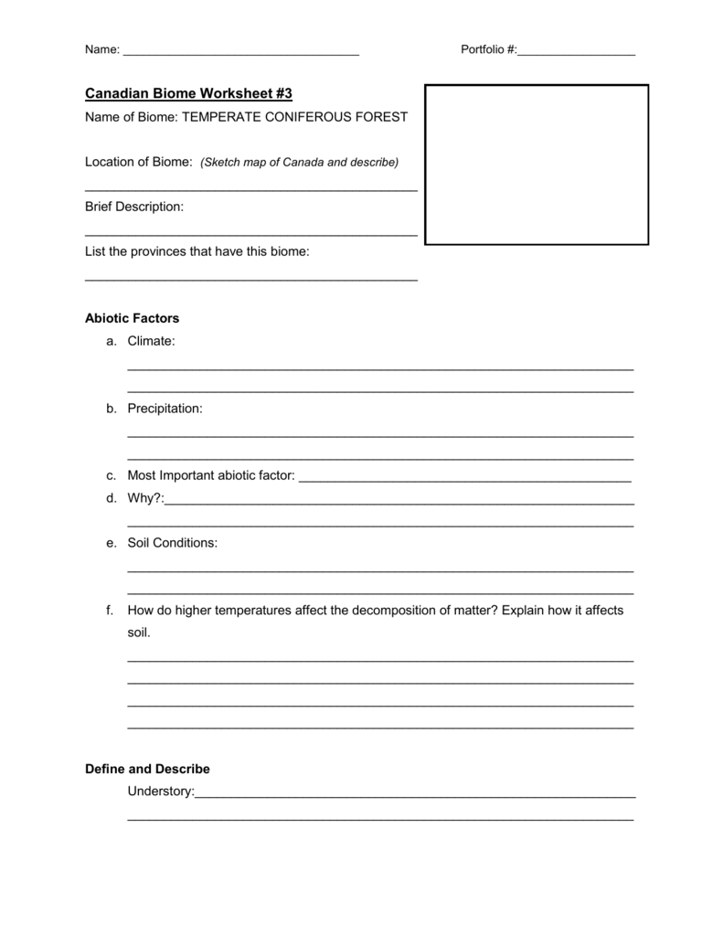 Workbooks worksheets on biomes : Biome-worksheet & Terrestrial Biomes Worksheet - The Best And Most ...
