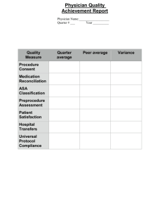 Quality Measure Quarter average Peer average Variance Procedure