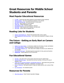 Great Resources for Middle School Students and Parents