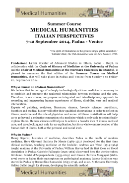 Summer Course MEDICAL HUMANITIES ITALIAN PERSPECTIVES