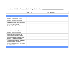 Evaluation of Digital Book Trailers and Student Blogs