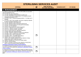 STERILISING SERVICES AUDIT