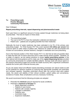 NHS West Sussex Prescribing Policy letter
