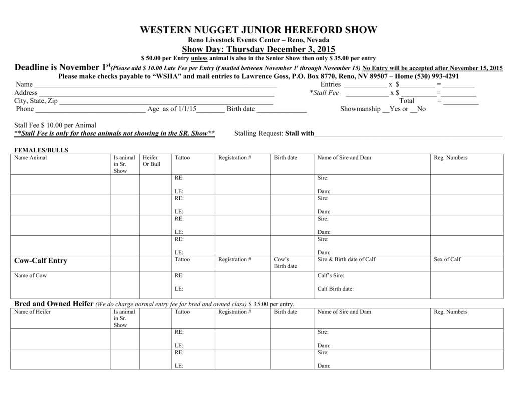 Junior Show entry form