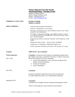 Freelance Translator`s Resume