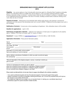 BIRNADINE MACK SCHOLARSHIP APPLICATION 2014 Eligibility