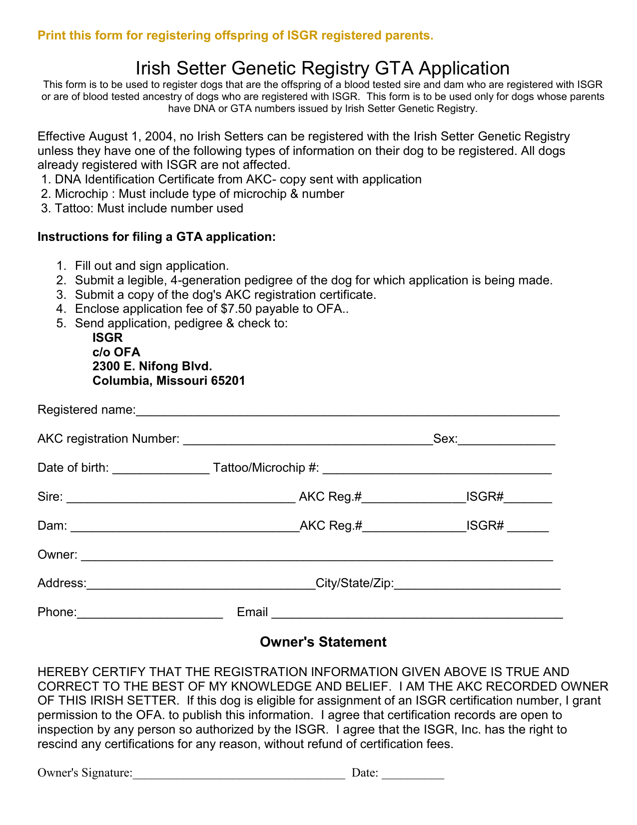 Print this form for registering offspring of ISGR registered parents