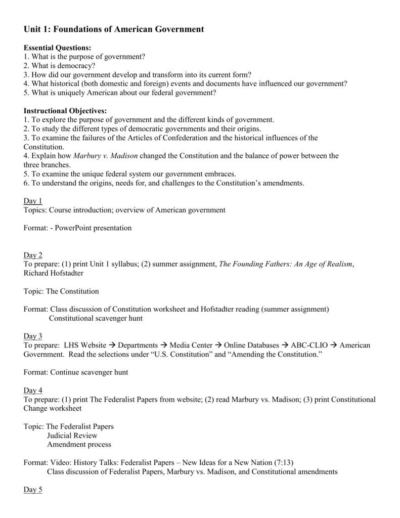 Unit 1 Foundations of American Government – Marbury V Madison Worksheet