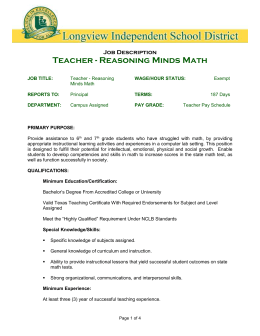 JOB TITLE: Reasoning Minds Math Teacher