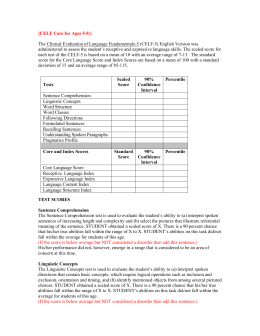 CELF 5 Ages 5 to 8 Template - Spring Branch Independent School