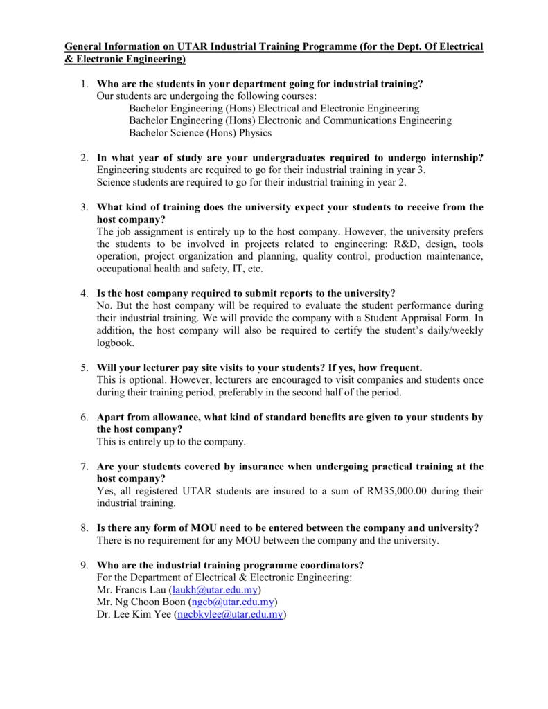 General information on utar industrial training programme spiritdancerdesigns Gallery