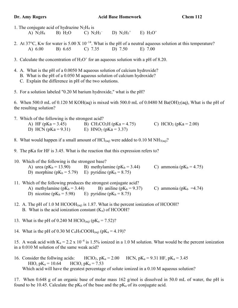 Acid Base Homework