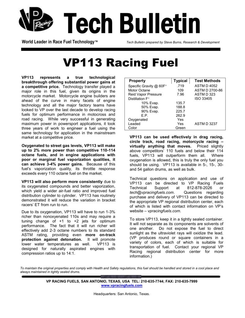 Tech Bulletin - VP Racing Fuels