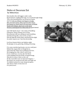 warfare as seen in the poems the sentry and dulce et decorum est essay Free essay: analysis of dulce et decorum est by wilfred owen in the poem, dulce et decorum est written by wilfred owen, the speaker appears to be a soldier.