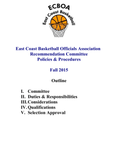 Recommendation Committee - the East Coast Basketball Officials