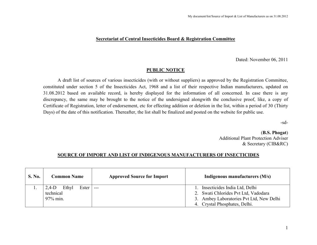 Public Notice regarding registered source of pesticides