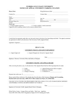 Notice of Appeal Form - Florida Gulf Coast University