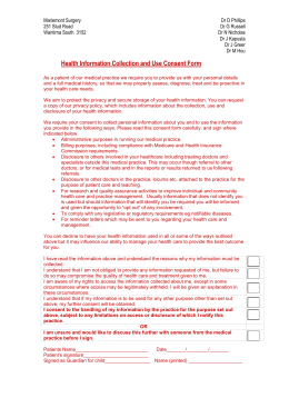 Health Information Collection and Use Consent Form