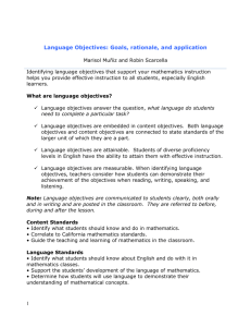 Language Objectives: Goals, rationale, and application