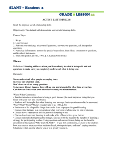 SLANT – Handout 2 GRADE 8 LESSON 22 ACTIVE LISTENING 3.8