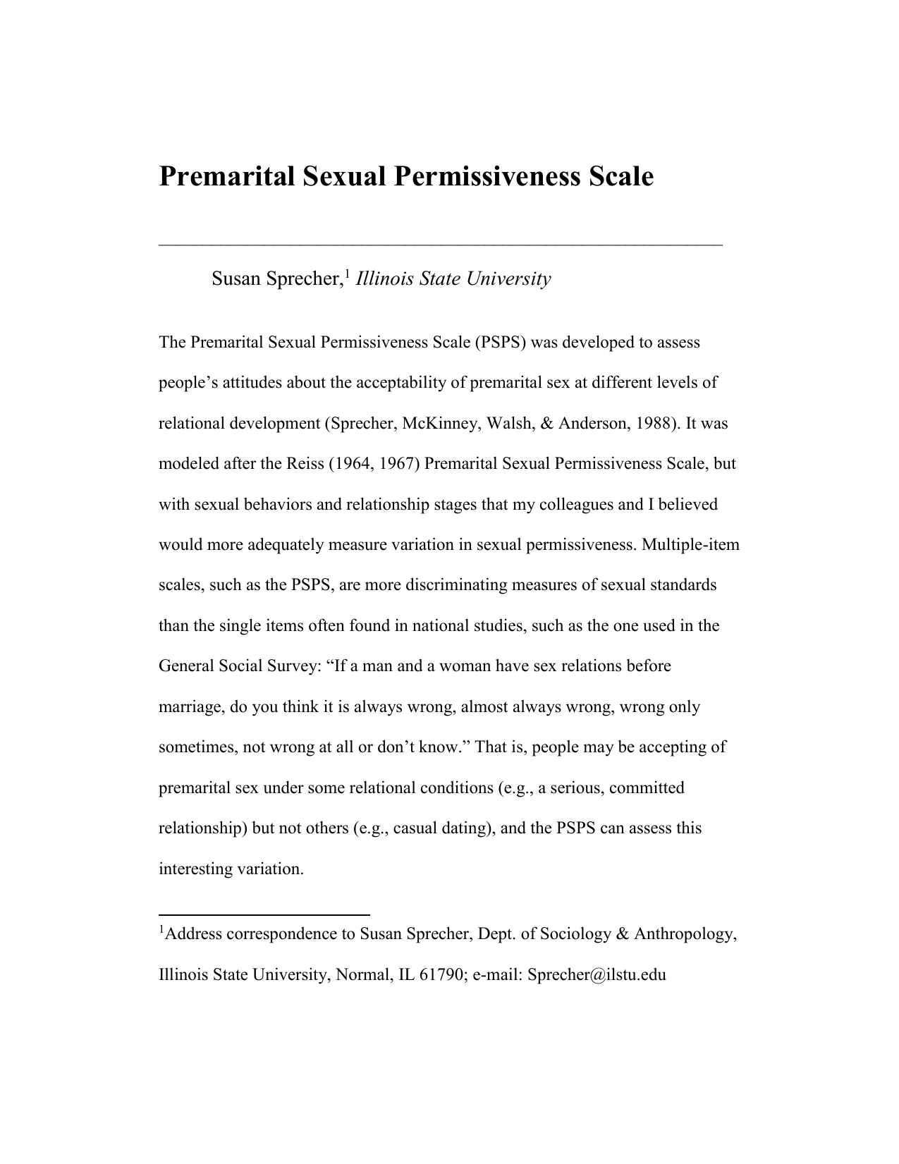 Premarital sex attitudes and behavior by dating stage