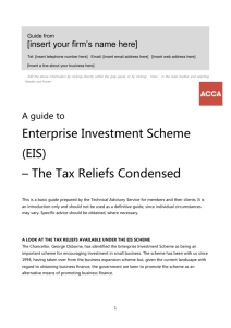 (EIS) - the tax reliefs condensed