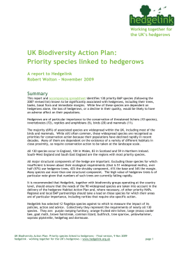 Biodiversity Action Plan species linked to hedgerows