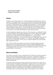 History - Church of Ireland College of Education