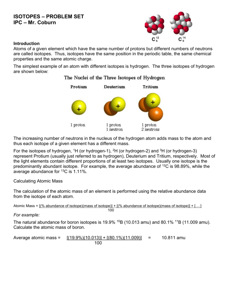 Isotopes Worksheet