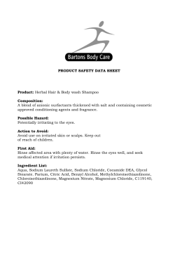 PRODUCT SAFETY DATA SHEET