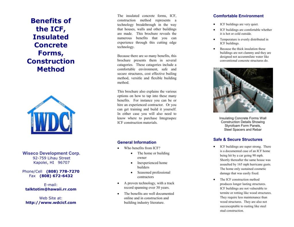 ICF Benefits Summary - ICF Hawaii, Insulating Concrete Forms