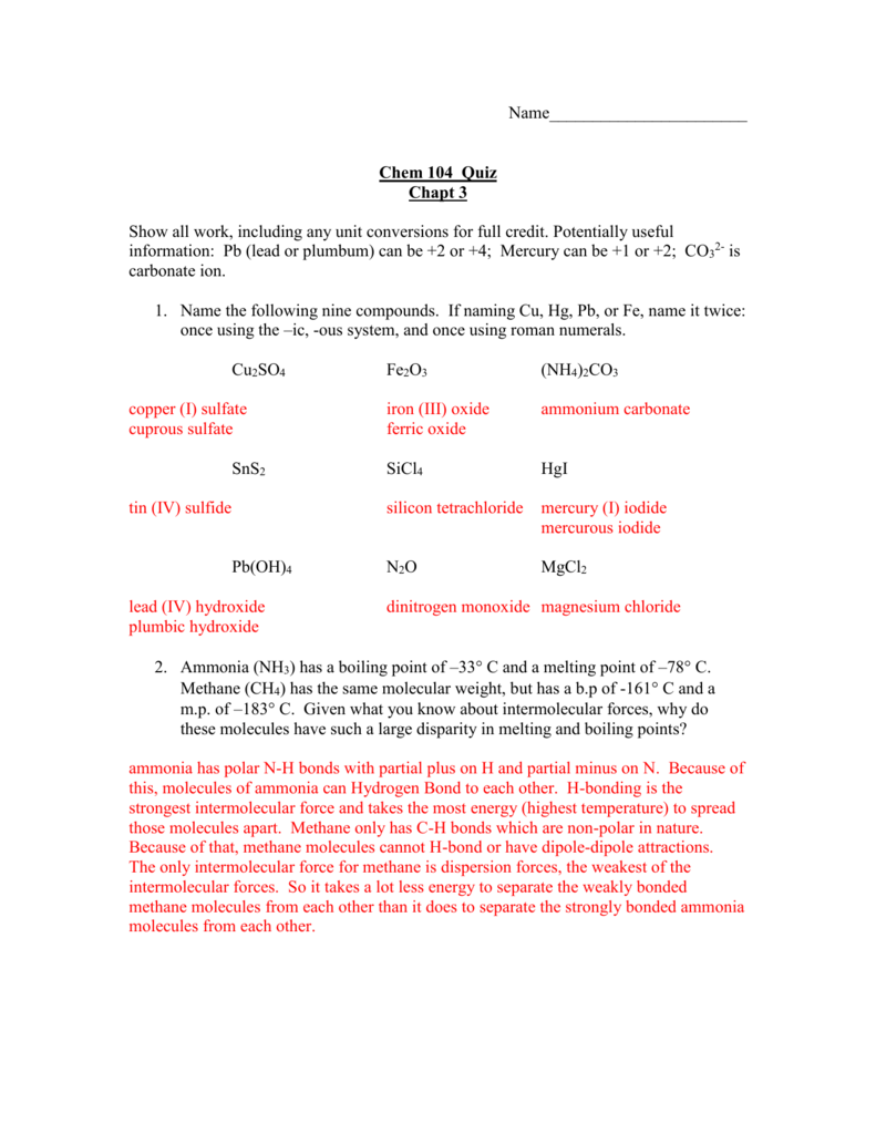 Chapter 3: Chemical Bonds Answers
