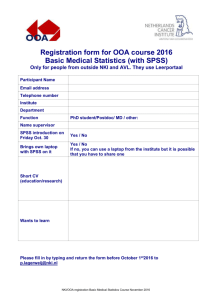 REGISTRATION FORM OF THE ONCOLOGY GRADUATE SCHOOL
