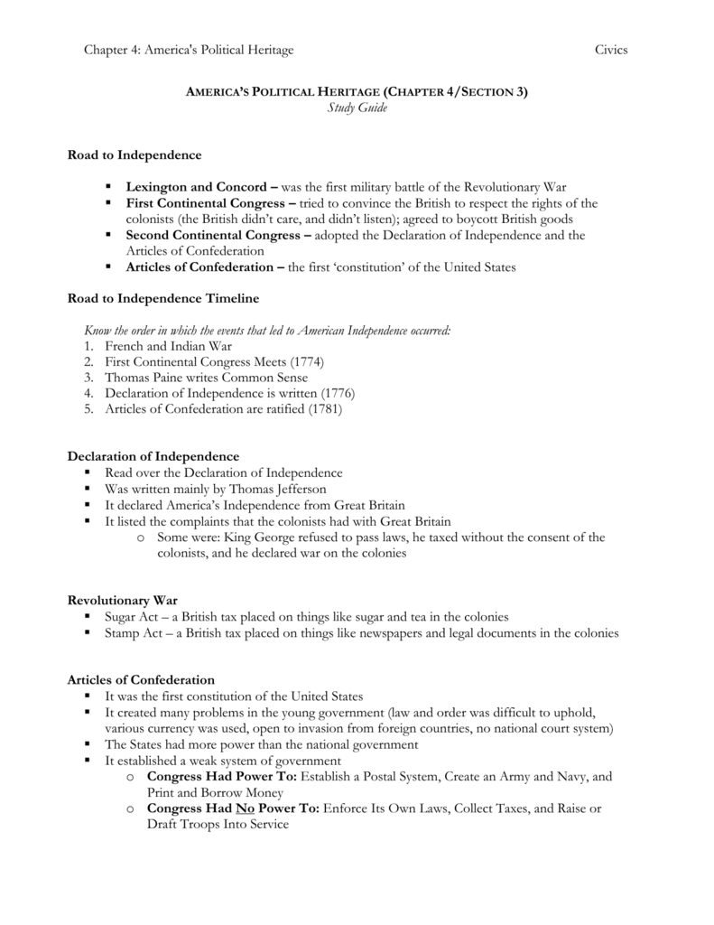 Americas Political Heritage Chapter 4 Exam Study Guide