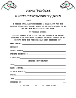 JUNK VEHICLE OWNER RESPONSIBILITY FORM