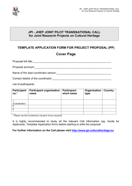JPI - JHEP JOINT PILOT TRANSNATIONAL CALL