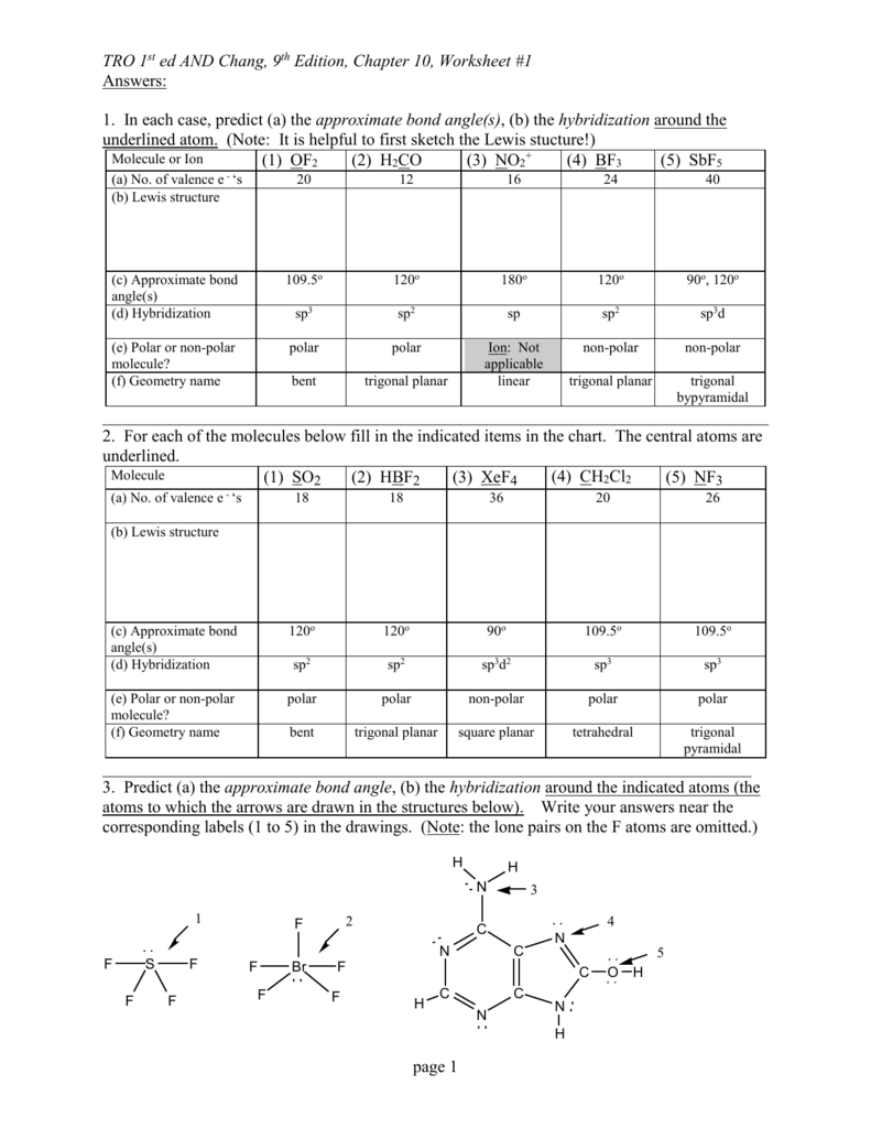 Vsepr Wkst 1 Answers