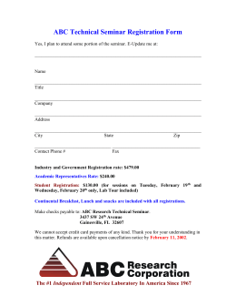 ABC Technical Seminar Early Registration Form