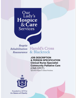 JOB DESCRIPTION - Our Lady`s Hospice & Care Services