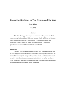 Computing Geodesics on Two Dimensional Surfaces
