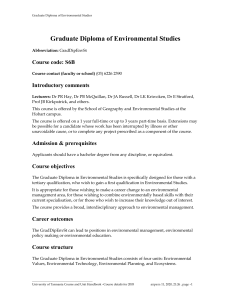Graduate Diploma of Environmental Studies Graduate Diploma of