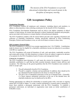 Gift Acceptance Policy - Emergency Nurses Association