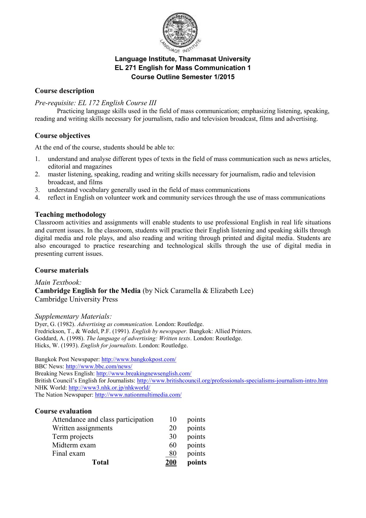 EL 271 English for Mass Communication 1