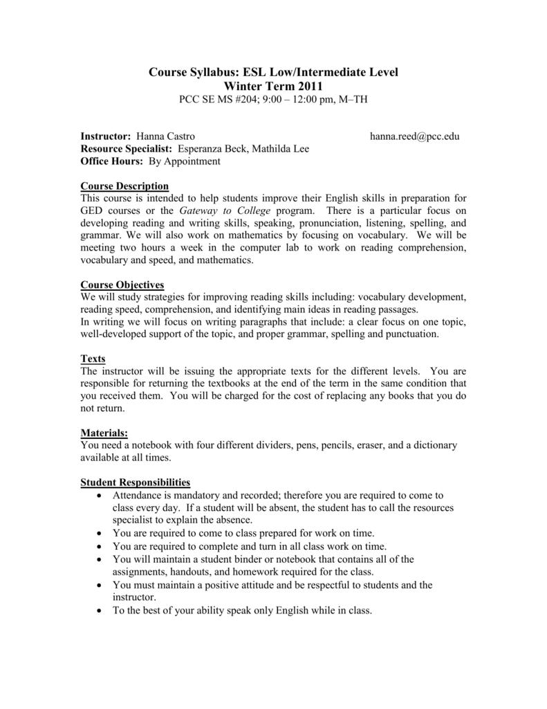 - Course Syllabus: ESL Low/Intermediate Level
