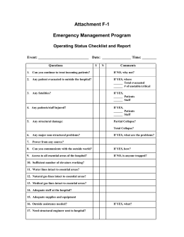 Operating Status Checklist and Report